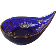 Vintage Blue Cobalt Glass Teardrop Dish Hand Painted Floral Gilt Accents