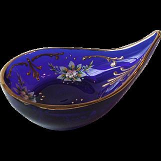 Vintage Blue Cobalt Glass Teardrop Dish Hand Painted Floral Gilt Accents