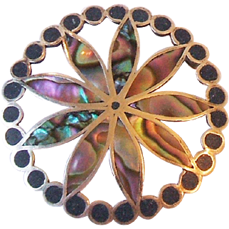 Vintage VDB Taxco Mexico Abalone Flower Sterling Silver Pendant Pin Brooch