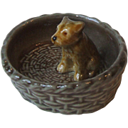 Vintage Wade England Porcelain Dog in Basket Porcelain Puppy Dish Yorkie Yorkshire Terrier