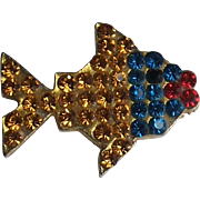 ldemaria Designers Sonia Demaria Italy Vintage Rhinestone Fish Pin Brooch