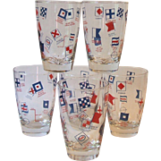 Vintage Boxed Set 6 Vintage Libbey Esso Gas Nautical Collins Glasses Signal Flags Boat Marine Maritime