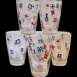 Vintage Boxed Set 6 Vintage Libbey Esso Gas Nautical Collins Glasses Signal Flags Boat Marine Maritime