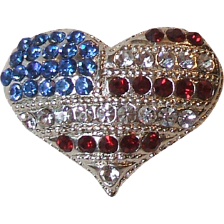 Eisenberg Ice Patriotic Rhinestone American Flag Heart Shaped Pin Brooch