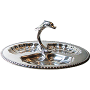Vintage Canterbury Silver Plate Figural Dolphin Center Handle Divided Shell Tray Ocean Sea Nautical Theme