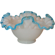 Vintage Fenton Glass 203 Aqua Crest Square Footed Flared Bowl Crimp Rim 7 Inch