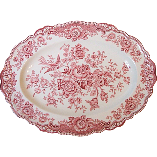 Crown Ducal Pottery Bristol Red / Pink Transferware 12 Inch Oval Platter England