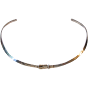 Taxco Mexico TP-68 925 Sterling Silver Modernist Belt Buckle Collar Choker Necklace