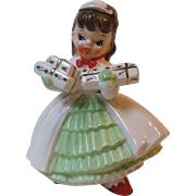 Vintage 1956 Napco Brunette Christmas Girl Planter AX1690PC White Coat National Potteries Co