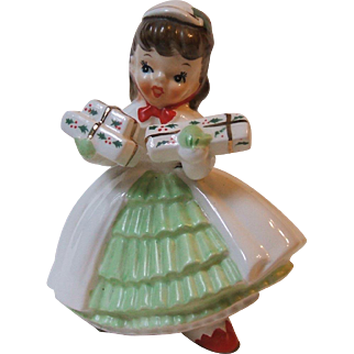 Vintage 1956 Napco Brunette Christmas Girl Planter AX1690PC White Coat National Potteries Co