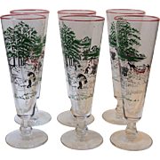 Set 6 Vintage Libbey Making Hay Beer Pilsner Glasses Amish Farm Harvest