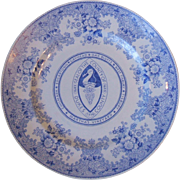 Vintage Arabia of Finland Dukes County Martha's Vineyard Mass Blue Transfer Plate