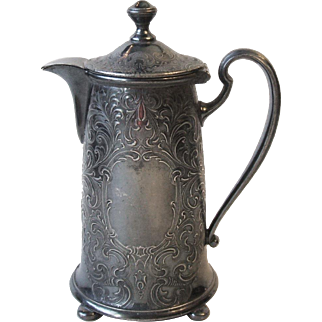 Vintage Reed and Barton Silverplate 285 Creamer Syrup Pitcher Hinged Lid Shabby Cottage