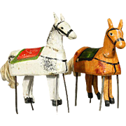 Dollhouse Wooden Horses with loosely jointed legs