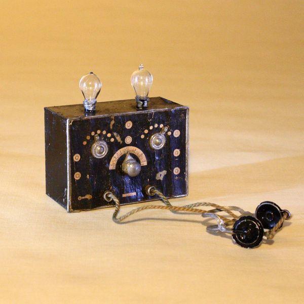 Rare Dollhouse Vacuum Tube Radio Receiver with Ear Phones - By F.W. GERLACH