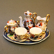 Antique Early Miniature English Porcelain Tea Service