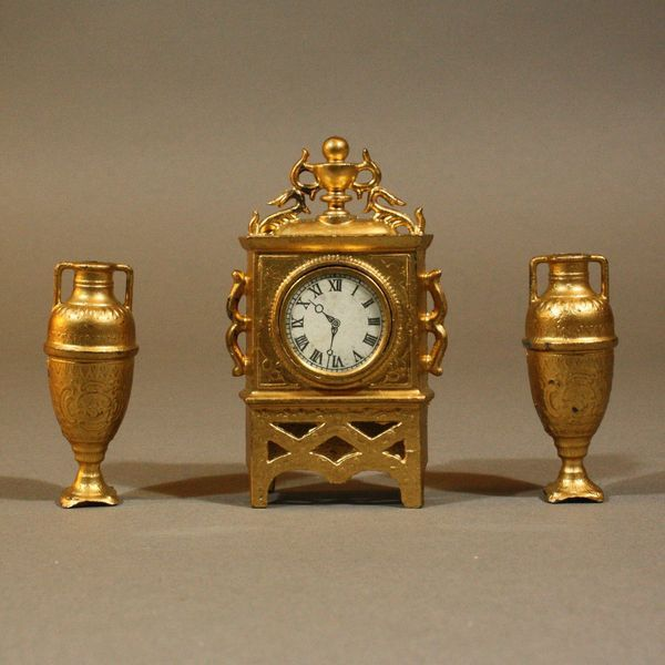 Antique Miniature Gilt Painted Mantel Clock with its two Matching Vases - For your Fashion Doll