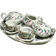 French Porcelain Tete-a-Tete Tea Service for Fashion Dolls