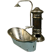 Lovely Antique Metal Bath Oven with Shower and Bathtub