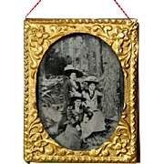 Antique Ormolu Frame with Ambrotype Portrait of Ladies