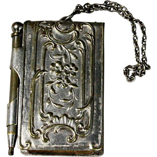 French Chatelaine Aide Dance Card with Original Metal Pencil - Carnet de Bal