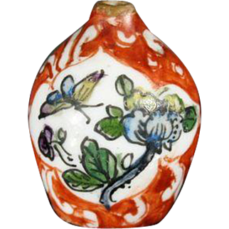 Very Small Porcelain Vase with Hand-painted Design