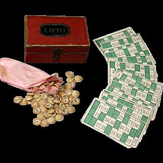 Antique Miniature French Loto Game in beautiful Original Cardboard Box