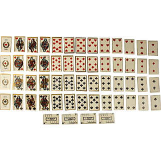 Antique Miniature Cards Game with its 52 cards