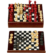Miniature Chess and Draughts Game  in Original Wooden Box
