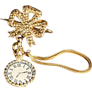 Doll Watch combined with gilted decorative Brooch and Chain