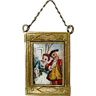 Antique Frame with Hand-painted Miniature Scene under Glass