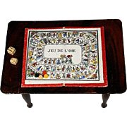 Antique Miniature Handpainted Game of the Goose in Wooden Box