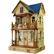 Antique Gottschalk Blue-roofed Villa with two Furnished Rooms and Dollhouse dolls