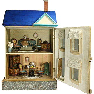 Fully-Furnished Blue Roof Dollhouse for the French Market by Moritz Gottschalk