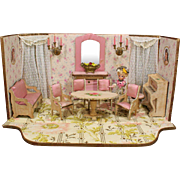 Antique French Miniature Room with Original Furnishings