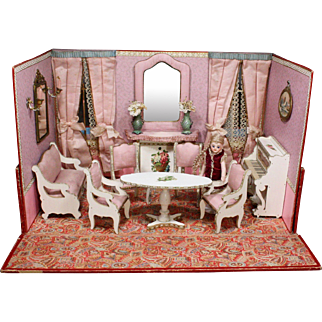 Elegant Antique French Miniature Folding Room for your Mignonettes