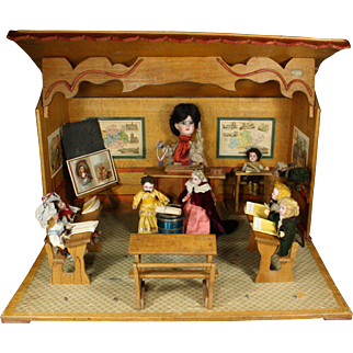 Antique French Miniature Mechanical and Musical School Room