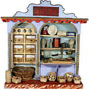 Superb French Wooden Toy Grocery labeled Epicerie with Glass Showcase
