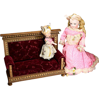 Antique Sofa with Paper Design Simulating Wood Carving for Tall Mignonettes of Fashion Dolls