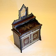 Antique Dollhouse Biedermeier Dressing Table in the Boulle style