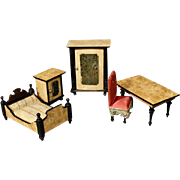 Set of German Wooden Doll Furniture with Ebonized Accents