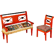 Early red-painted Furniture, from the Erzgebirde (Ore Mountains) region