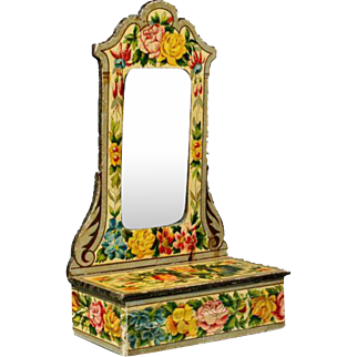 Antique Pier Mirror with Lithographed Floral Paper Design