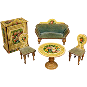 Antique German Lithographed-over-Wood Furnishings with Floral Motives