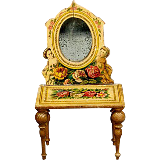 German Lithographed-over-wood Dressing Table