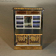 Antique Dollhouse Drop-front Secretaire in Boulle style - By Wagner & Sohne