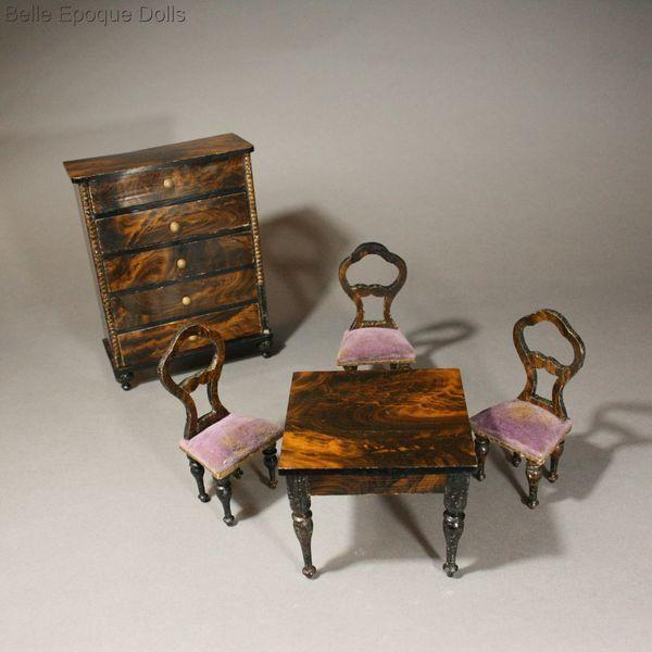 Superb Early German Faux Grained Parlor Set With Mauve