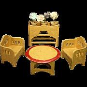 Dollhouse Wicker-like pressed Cardboard Furniture Set - By Karl Schreiter
