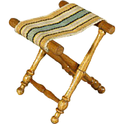 Wooden Antique Folding Stool for your Doll - By Schneegas