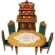 German Wooden Furniture Set with Carved Leaves